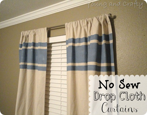 No Sew Drop Cloth Curtains Young And Crafty